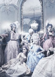 Royal Affair: Kirsten Dunst and the cast of 'Marie Antoinette' (dir. Sofia Coppola) showcase the stunning powdered pastel costumes used in the movie as they lounge in a Parisian hotel for the famed photographer Annie Leibovitz, the story was featured in the September issue of Vogue US, 2006