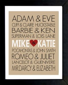 DIY name wall art gift for the bride and groom.