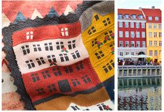 Shereo's crochet pattern+video tutorial of colorful towns blanket Knit World, Knitting Charts, Have Time, Christmas Stockings, Diy And Crafts, Crochet Patterns, Blanket, Embroidery, Poufs