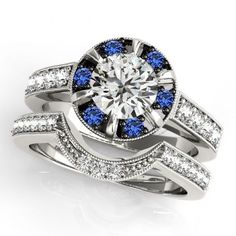 14K White Gold Plated White & Blue Sapphire Women's Wedding 2Pcs Bridal Ring Set #br925silverczjewelry