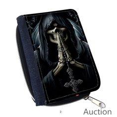 Grim Reaper Skull Skeleton for Canvas Wallet Purse Money Clip Credit Card Pack #Handmade