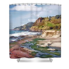 Gorgeous Oregon Coast Shower Curtain. Make your bathroom feel like the great outdoors with this shower curtain featuring the beach, ocean and rocky coastline of Oregon.