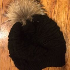 Selling this Pom Pom Rex Rabbit fur black beanie in my Poshmark closet! My username is: fancypants3688. #shopmycloset #poshmark #fashion #shopping #style #forsale #Linda Richards #Accessories