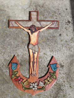 Mid Century Rusty Nail Jesus Crucifix on Anchor by artandsalvage, $85.00