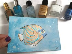 angelfish enamel watercolor ooak cardstock by LaSoffittaDiSte