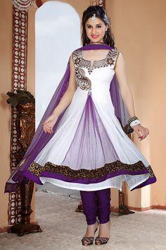 Dazzling Diva Bluish Purple & Off White Salwar Kameez | StylishKart.com
