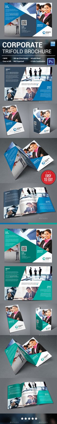 Corporate Trifold Brochure Template PSD #design Download: http://graphicriver.net/item/corporate-trifold-brochure/13948676?ref=ksioks