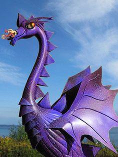 Royal purple Dragon Flamingo: King of deep purple nights, is a handcrafted garden and yard art sculpture. (www.etsy.com/shop/CedarMoon)