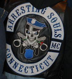 Arresting Souls MC - Actually a LE - Connecticut, Motorcycle club patch Harley Davidson Images, Biker Clubs, Motorcycle Clubs, Mc Logo, Old Motorcycles, Biker Patches, Bike Art, Law Enforcement, Colours