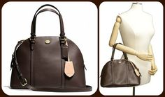 NWT Peyton Saffiano Leather Domed Satchel/Shoulder Purs. Starting at $10 on Tophatter.com!