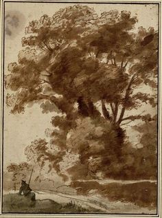 Claude Lorrain, Baumgruppe mit ruhendem Hirten, späte 1630er © Albertina, Wien