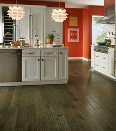 Hickory Mountain Smoke Hardwood flooring from Armstrong.