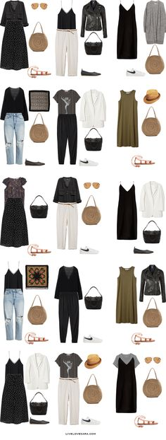 If you are wondering what to pack for Spain, Portugal, Denmark, and Greek Islands for 45 days during the summer months, you can see some outfit ideas here. What to Pack for Spain Packing Light List French Capsule Wardrobe, Travel Wardrobe, Summer Wardrobe, Paris Outfits, Travel Outfit Summer, Summer Outfits, Summer Travel, Travel Packing Outfits, Holiday Outfits