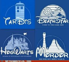 Doctor Who - Tardis, Star Wars - Death Star, Harry Potter - Hogwarts and Lord of the Rings - Mordor Doctor Who, Geeks, Film Mythique, Cultura Nerd, Just In Case, Just For You, Disney Logo, Disney Nerd, Disney Play