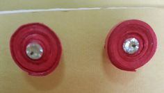 Handmade waterproof quilled earrings material : acid free paper with swarovski flat base KM Q30