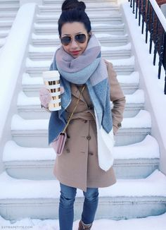 Boston snow day outfit // camel coat + plaid blanket scarf + cable mittens
