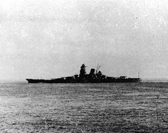 Musashi, 1943: together with sister Yamato, at over 72000 tons and mounting 9 x 18.1 in guns, one of the two biggest battleships ever built, and by a considerable margin.  She was sunk by sustained US air attacks in October 1944.  Yamato went the same way in April 1945: the definitive end of the battleship era.