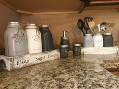 Utensil wide mouth quart planter box with handles canister gallon mason planter box with stencil and handles salt and pint jars-with hand hammered SP lids soap pint jar IN THE NOTES OF THE ORDER: please indicate what Utensil Storage, Diy Kitchen Storage, Utensil Holder, Jar Storage, Utensil Set, Gallon Mason Jars, Mason Jar Holder, Mason Jar Kitchen, Chalk Paint Mason Jars