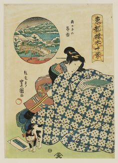 Utagawa Toyokuni II  二代目歌川豊国Title: Twilight Snow at Shin Dote 新土手の暮雪Series: Ten Views of Cherry Trees in the Eastern Capital 東都桜木十景