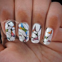 Freehand abstract nail art