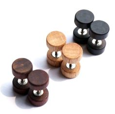 3 Pairs Wood Wooden Vintage Round Circle Fake Cheater Plug Tunnel Mens Womens Stainless Steel Stud Earrings (8mm)