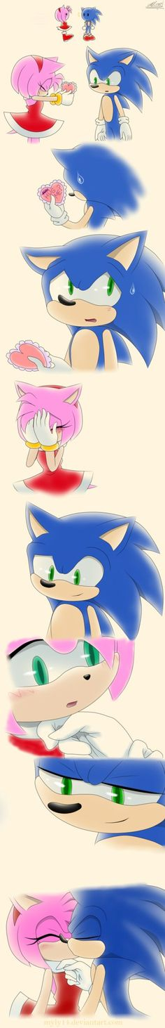 "Entry for the contest amy: sonic sonic : yes amy? ""give the heart"" sonic : haaa amy.. amy : i knew you'd say no  sonic : ""smile"" sonic : amy... amy : ""look at sonic"" sonic : ""kiss"" Thanks to for th..."