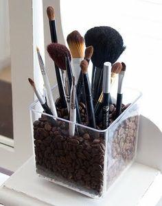 makeup brush holder - filler=coffee beans!! nomnom