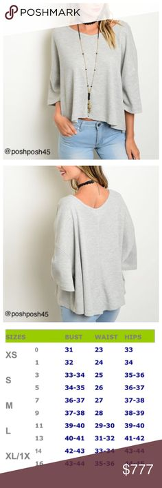 GREY RIBBED TOP Relaxed fit top with 3/4 sleeves.  Great sweater top can be worn with jeans , legging etc...New without tag.   ✨Material-100% cotton✨ ✨Sizes-small medium large✨ ✨Shipping-1 business day Monday through Friday✨ Lee's boutique Sweaters