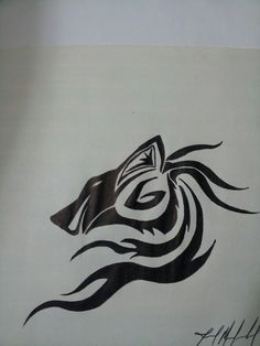 Tribal wolf drawing by Jarid Mansfield