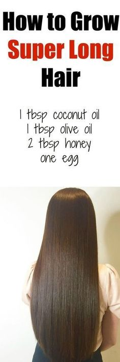 How to Grow Super Long Hair Youll Need: 1 tbsp coconut oil 1 tbsp olive oil 2 tbsp honey one egg Directions: In a medium bowl, combine all ingredients, making sure to beat the egg well before. Apply entire mixture to hair, starting from roots to ends. Hair Growth Tips, Hair Care Tips, Fast Hair Growth, Hair Growth Mask Diy, Hair Growth Recipes, Nail Growth Faster, Healthy Hair Growth, Tips For Healthy Hair, Healthy Long Hair