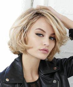 Blonde-Chin-Length-Bob Blonde Short Hair Ideas for Ladies Edgy Haircuts, Bob Hairstyles For Thick, Hairstyles Haircuts, Popular Hairstyles, Short Hair Updo, Short Hair Cuts, Curly Hair Styles, Langer Bob Blond, Long Bob Blonde