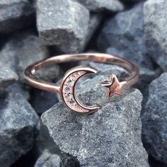 Rose Gold Moon and Star Ring - AlphaVariable Rose Gold Jewelry, Metal Jewelry, Sterling Silver Jewelry, Silver Jewellery, Jewelery, Jewellery Shops, Jewelry Bracelets, Bijoux Or Rose, Moon And Star Ring