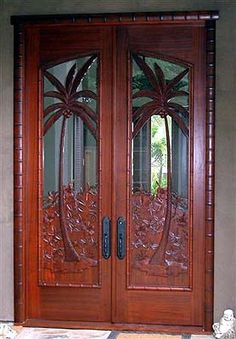 WOOD CARVED PALM TREES AND GLASS DOORS <3