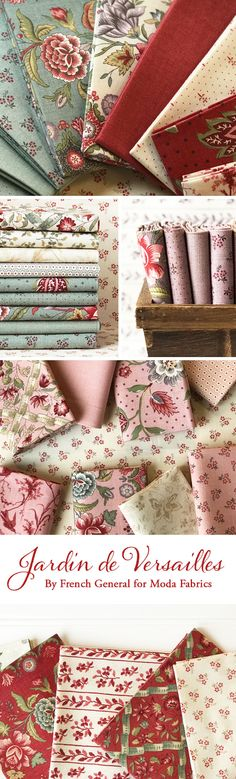 Jardin de Versailles by French General is a detailed collection filled with beautiful floral prints and gorgeous colorways from Moda Fabrics available at Shabby Fabrics. Fabric Yarn, Fabric Dolls, Fabric Decor, Fabric Design, Quilting Fabric, Shabby Chic Fabric, Shabby Fabrics, Vintage Fabrics, French General Fabric