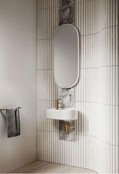 Home Decor Ideas Bathroom Lune Collection: Omvivo collab with Adele Bates Bathroom Mirror Design, Bathroom Interior Design, Modern Bathroom, Small Bathroom, Bathroom Ideas, Minimal Bathroom, Bathroom Designs, Marble Bathrooms, Master Bathrooms
