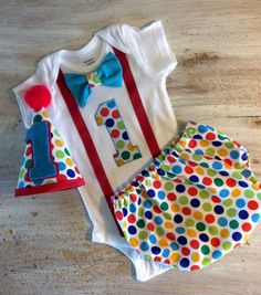 Circus Carnival Themed Polka Dot Cake Smash Outfit with Onesie 1st Birthday First Birthday Carnival Set w/Party Hat and Bow Tie
