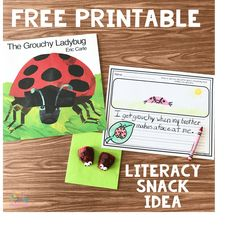 literacy snack idea ladybug The Grouchy Ladybug #EricCarle #booksnack #literacysnack #ladybugsnack #thegrouchyladybug #kindergarten #preschool
