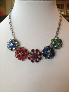 Vintage rhinestone assemblage necklace upcycled vintage