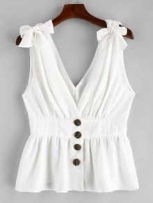 White Summer Standard Solid V-Collar Regular Fashion Knotted Button Up Tank Top Denim Vintage, White Sleeveless Blouse, Mini Vestidos, Spring Summer Fashion, Tankini, Shirt Style, Ideias Fashion, Cute Outfits, Clothes For Women