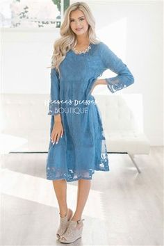Meet your new favorite dress and our best ever selling dress! Do not wait to order yours, this dress will sell out instantly! Our Day Dreamer dress is fully lined, has 3/4 length sleeves, a relaxed fit and the overlay is this beautiful cornflower blue crochet lace.