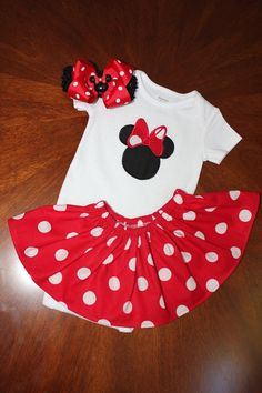Minnie mouse baby onsie perfect for Disney for by BittyBittyBumBum, $19.50