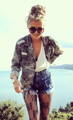 cutest bun with high waisted jean shorts and v neck white tank plus army jacket. <3 the sunglasses