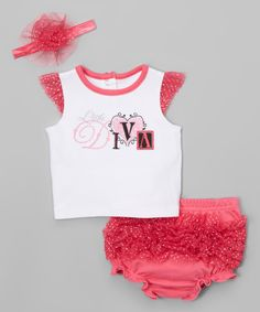 Look what I found on #zulily! Pink 'Diva' Angel-Sleeve Tee Set - Infant by Vitamins Baby #zulilyfinds