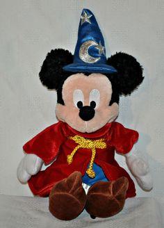 "Disneyland Mickey Mouse Wizard Sorcerer 13""  Plush Toy Walt Disney World Fantasia #Disneyland #WorldDisneyWorld #Fantasia #MickeyMouseSorcerer"