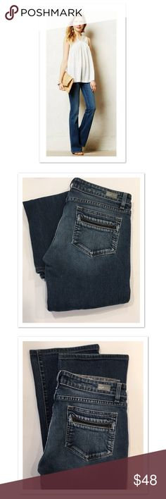 "Paige Benedict Canyon Bootcut Jeans Excellent condition!! Leather detail on back pockets.  Inseam: approx 31"" Rise: approx 8"" Paige Jeans Jeans Boot Cut"