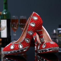 74.99$  Watch now - http://ali8lu.worldwells.pw/go.php?t=32385129172 - New Arrival 2015 Red Pearls Women Wedding Shoes Bling Rhinestones Beautiful Wedding Shoes Diamond Crystal Bridal Pumps High Heel 74.99$