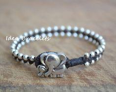 Elephant bracelet, Macrame Simple Bracelet, Gift Idea, Dark Brown on Etsy, $9.00