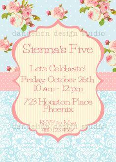 PRINTABLE Custom Invitation - Blue Shabby Chic Party Collection - Dandelion Design Studio