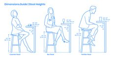 Stool heights come in a range of sizes and types to respond to a variety of functions and uses. The most common variants of stool heights are counter stools, bar stools, and tall bar stools. Counter stools range from Tall Bar Stools, Bar Stool Height, Table Height, Bar Dimensions, Chaise Bar, Cafe Design, Furniture Arrangement, Interior Design Tips, Kitchen Layout