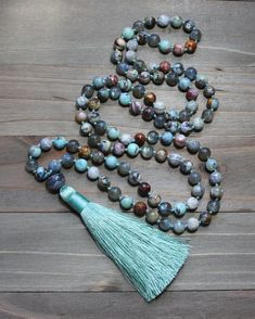 Labradorite and Agate Mala Bead Necklace from Mud and Lotus Malas Bohemian Jewelry, Beaded Jewelry, Beaded Bracelets, Jewellery, Meditation Gifts, Mala Meditation, Healing Crystal Jewelry, Spiritual Gifts, Diy Necklace